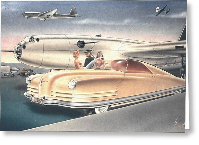 Valiant Greeting Cards - 1941 Chrysler styling concept rendering Gil Spear Greeting Card by ArtFindsUSA