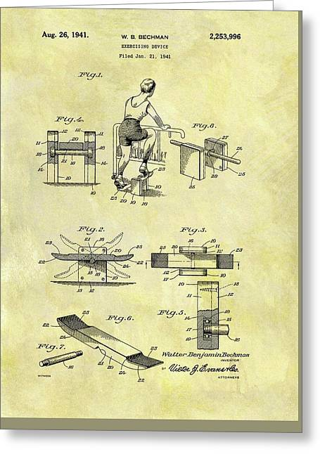 1941 Exercise Machine Patent Greeting Card by Dan Sproul
