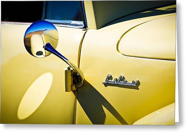 Lincoln Images Greeting Cards - 1941 Lincoln Continental Cabriolet V12 Emblem -275c Greeting Card by Jill Reger