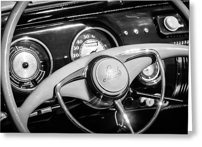 Steering Greeting Cards - 1941 Lincoln Continental Cabriolet V12 Steering Wheel -226bw Greeting Card by Jill Reger