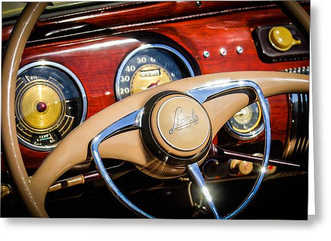 Car Part Greeting Cards - 1941 Lincoln Continental Cabriolet V12 Steering Wheel Greeting Card by Jill Reger