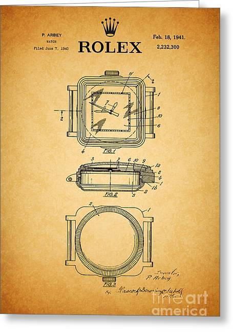 Calendar Drawings Greeting Cards - 1941 Rolex Watch Patent 1 Greeting Card by Nishanth Gopinathan