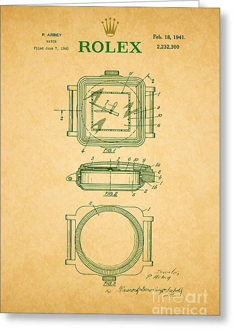 Calendar Drawings Greeting Cards - 1941 Rolex Watch Patent 2 Greeting Card by Nishanth Gopinathan