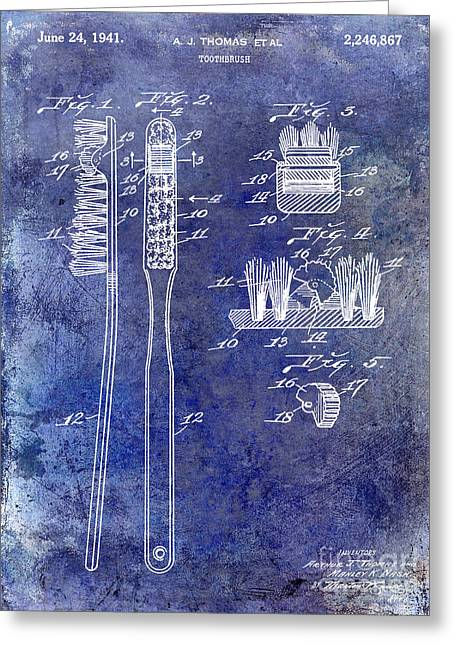 Dentistry Greeting Cards - 1941 Toothbrush Patent Blue Greeting Card by Jon Neidert
