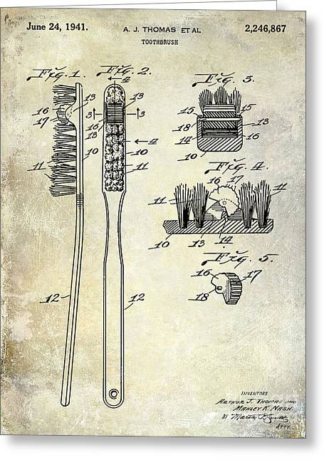 Dentistry Greeting Cards - 1941 Toothbrush Patent  Greeting Card by Jon Neidert