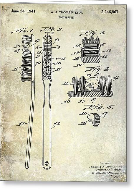 Medical Greeting Cards - 1941 Toothbrush Patent  Greeting Card by Jon Neidert