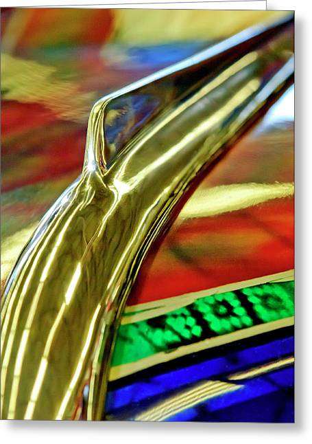 Car Mascot Greeting Cards - 1941 Willys Chopped Gasser Pickup Hood Ornament Greeting Card by Jill Reger