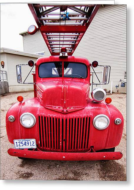 Owen County Greeting Cards - 1942 Ford Fire Engine Greeting Card by Troy Montemayor