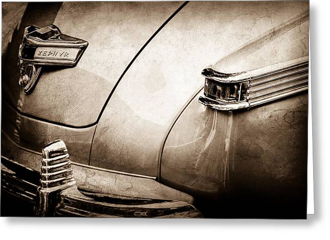 1942 Lincoln Zephyr Coupe Taillight Emblem -1516s Greeting Card by Jill Reger