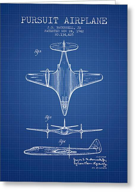 Second Drawings Greeting Cards - 1942 Pursuit Airplane Patent - Blueprint 02 Greeting Card by Aged Pixel