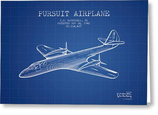 Second Drawings Greeting Cards - 1942 Pursuit Airplane Patent - Blueprint Greeting Card by Aged Pixel