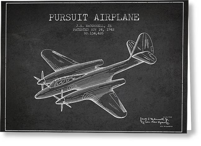 Second Drawings Greeting Cards - 1942 Pursuit Airplane Patent - Charcoal 03 Greeting Card by Aged Pixel