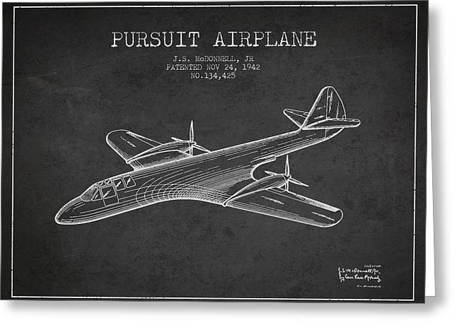 Second Drawings Greeting Cards - 1942 Pursuit Airplane Patent - Charcoal Greeting Card by Aged Pixel