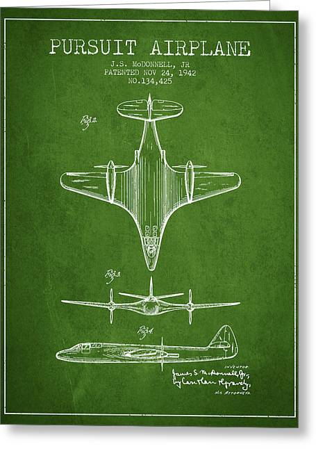Second Drawings Greeting Cards - 1942 Pursuit Airplane Patent - Green 02 Greeting Card by Aged Pixel