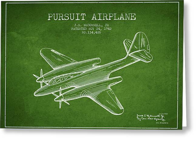 Second Drawings Greeting Cards - 1942 Pursuit Airplane Patent - green 03 Greeting Card by Aged Pixel