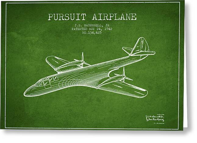 Second Drawings Greeting Cards - 1942 Pursuit Airplane Patent - Green Greeting Card by Aged Pixel