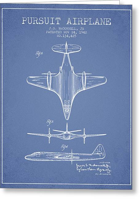 Second Drawings Greeting Cards - 1942 Pursuit Airplane Patent - Light Blue 02 Greeting Card by Aged Pixel