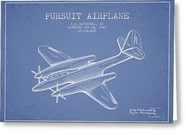 Second Drawings Greeting Cards - 1942 Pursuit Airplane Patent - light blue 03 Greeting Card by Aged Pixel