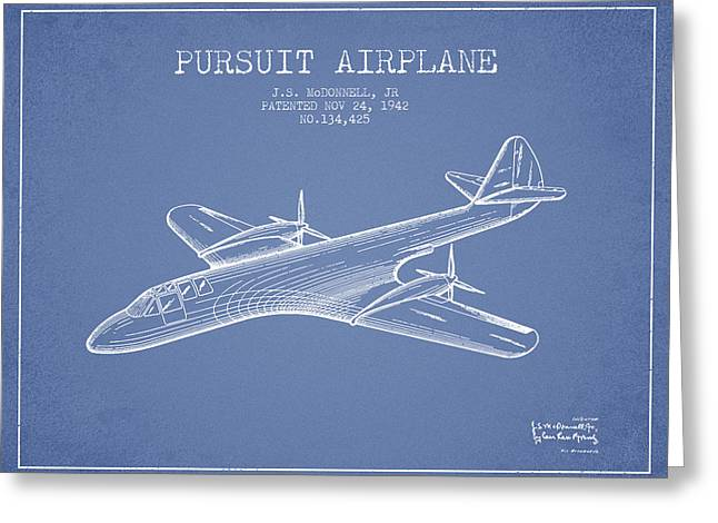 Second Drawings Greeting Cards - 1942 Pursuit Airplane Patent - Light Blue Greeting Card by Aged Pixel