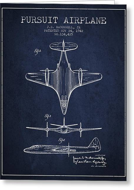 Second Drawings Greeting Cards - 1942 Pursuit Airplane Patent - Navy Blue 02 Greeting Card by Aged Pixel