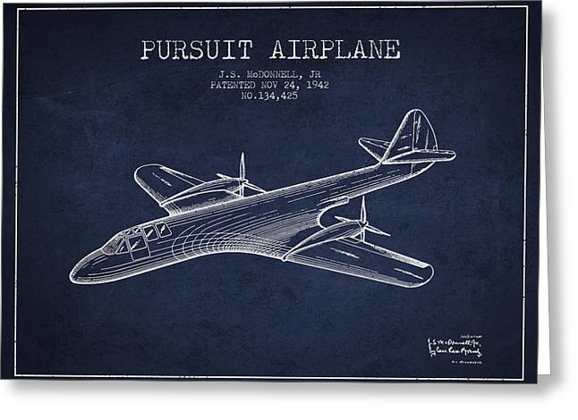 Second Drawings Greeting Cards - 1942 Pursuit Airplane Patent - Navy Blue Greeting Card by Aged Pixel