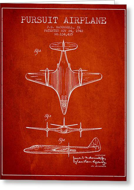 Second Drawings Greeting Cards - 1942 Pursuit Airplane Patent - Red 02 Greeting Card by Aged Pixel
