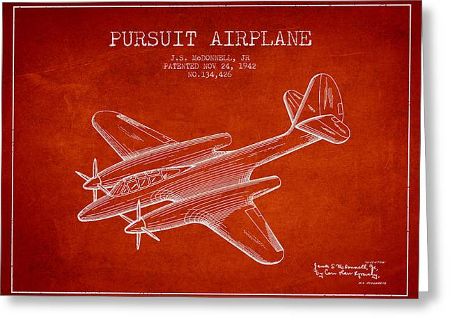 Second Drawings Greeting Cards - 1942 Pursuit Airplane Patent - red 03 Greeting Card by Aged Pixel