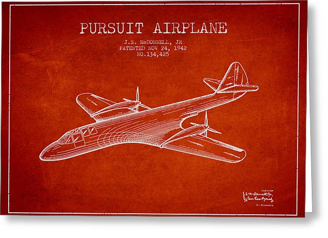 Second Drawings Greeting Cards - 1942 Pursuit Airplane Patent - Red Greeting Card by Aged Pixel