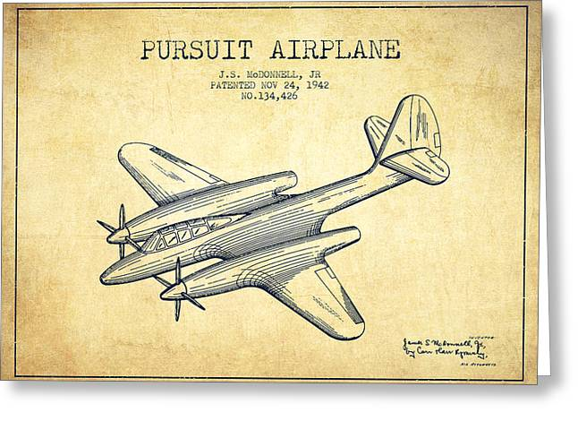 Second Drawings Greeting Cards - 1942 Pursuit Airplane Patent - vintage 03 Greeting Card by Aged Pixel