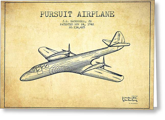 Second Drawings Greeting Cards - 1942 Pursuit Airplane Patent - Vintage Greeting Card by Aged Pixel
