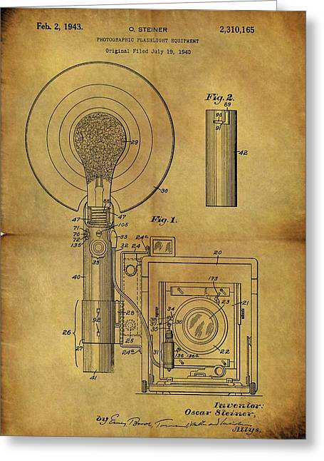 1943 Camera Flash Patent Greeting Card by Dan Sproul