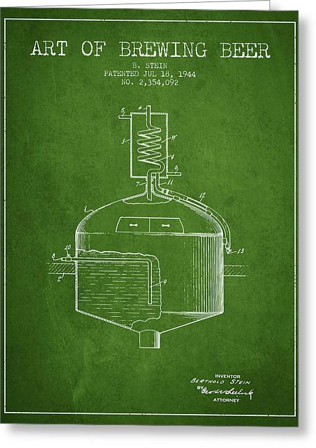 Beer Art Greeting Cards - 1944 Art Of Brewing Beer Patent - Green Greeting Card by Aged Pixel