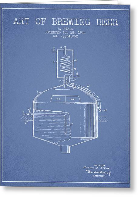 Beer Art Greeting Cards - 1944 Art Of Brewing Beer Patent - Light Blue Greeting Card by Aged Pixel