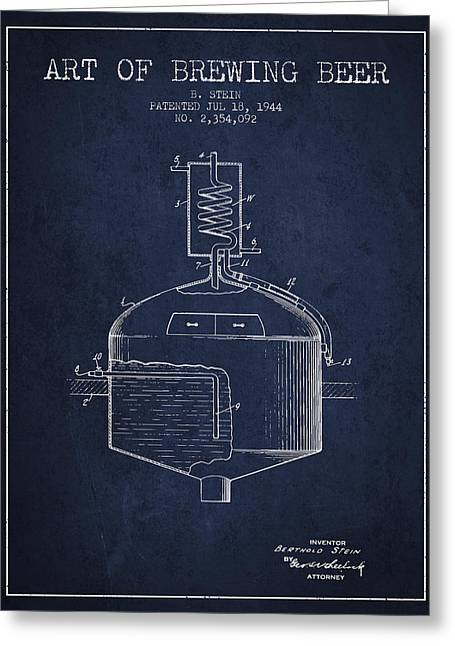 Beer Art Greeting Cards - 1944 Art Of Brewing Beer Patent - Navy Blue Greeting Card by Aged Pixel