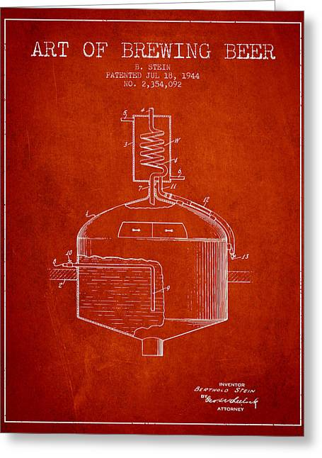 Beer Art Greeting Cards - 1944 Art Of Brewing Beer Patent - Red Greeting Card by Aged Pixel