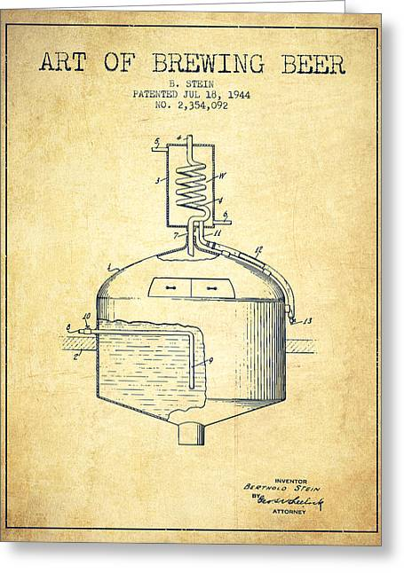 Beer Art Greeting Cards - 1944 Art Of Brewing Beer Patent - Vintage Greeting Card by Aged Pixel