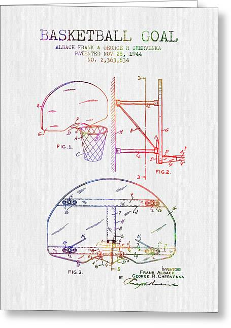 Basketball Drawings Greeting Cards - 1944 Basketball Goal Patent - Color Greeting Card by Aged Pixel
