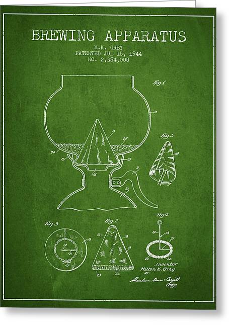 Beer Drawings Greeting Cards - 1944 Brewing Apparatus Patent - Green Greeting Card by Aged Pixel