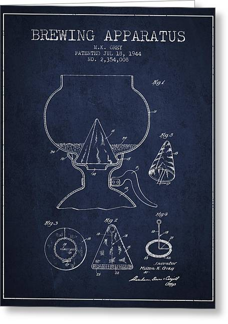 Tap Drawings Greeting Cards - 1944 Brewing Apparatus Patent - Navy Blue Greeting Card by Aged Pixel