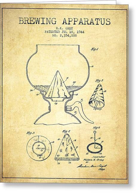 Beer Drawings Greeting Cards - 1944 Brewing Apparatus Patent - Vintage Greeting Card by Aged Pixel