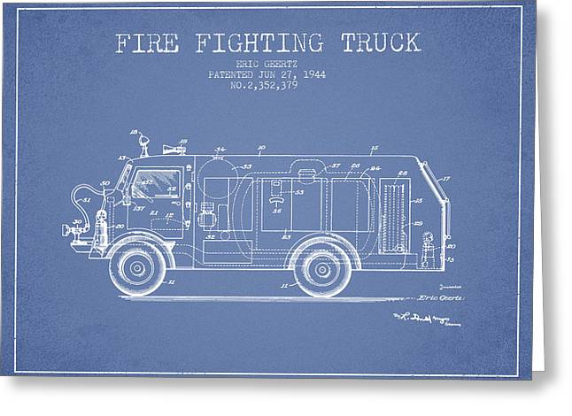 Technical Mixed Media Greeting Cards - 1944  Fire Fighting Truck Patent - Light Blue Greeting Card by Aged Pixel