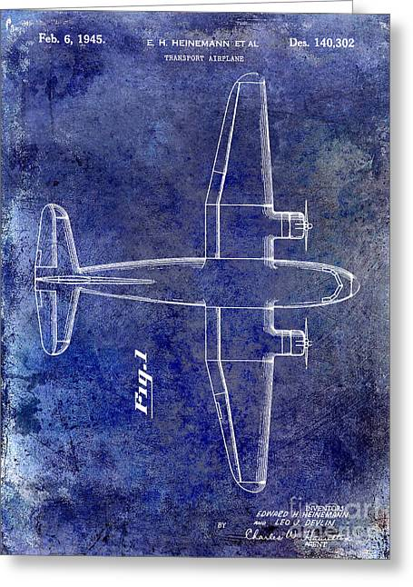 Antique Airplane Greeting Cards - 1945 Transport Airplane Patent Blue Greeting Card by Jon Neidert