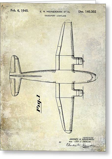 Antique Airplane Greeting Cards - 1945 Transport Airplane Patent Greeting Card by Jon Neidert