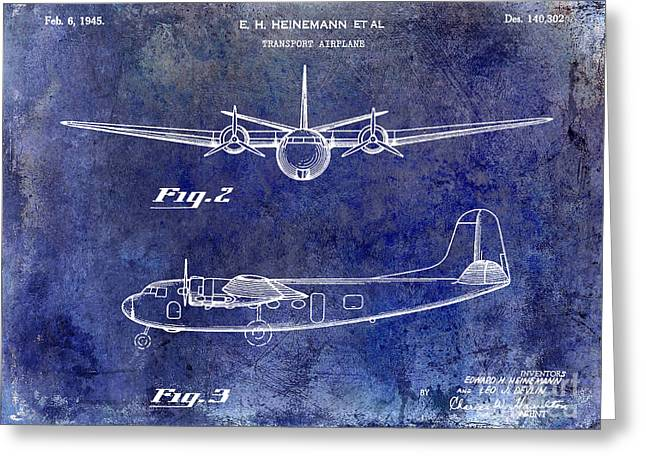 1946 Airplane Patent Blue Greeting Card by Jon Neidert