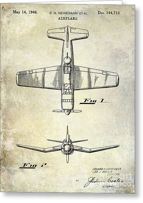 Antique Airplane Greeting Cards - 1946 Airplane Patent Greeting Card by Jon Neidert
