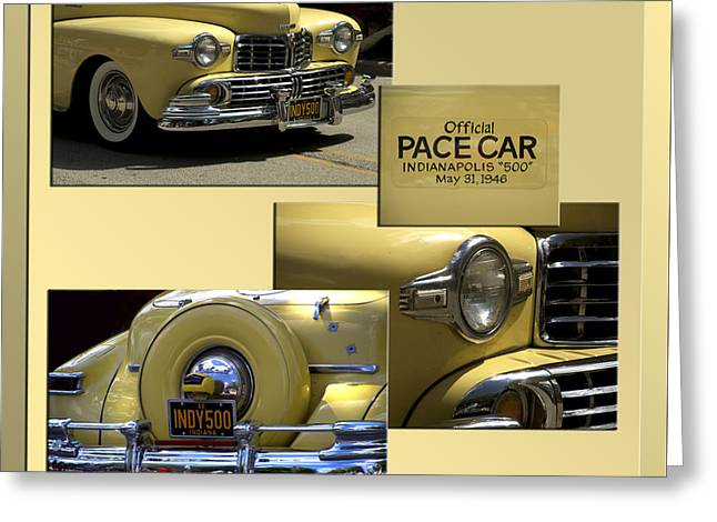 Indy Car Greeting Cards - 1946 Indy 500 Pace Car Collage Greeting Card by Thomas Woolworth