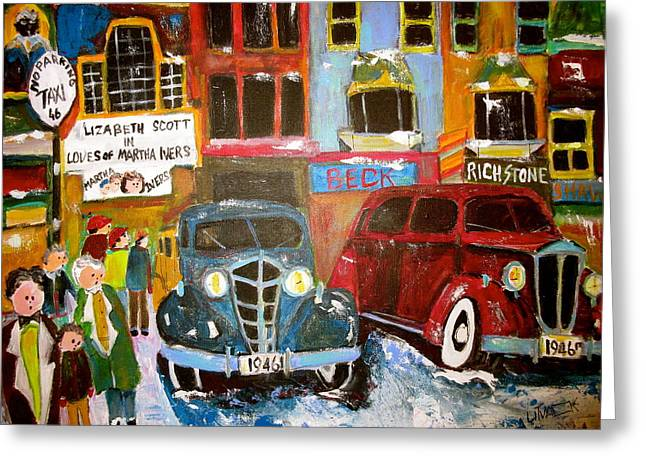1946 Montreal Taxi Stand Greeting Card by Michael Litvack