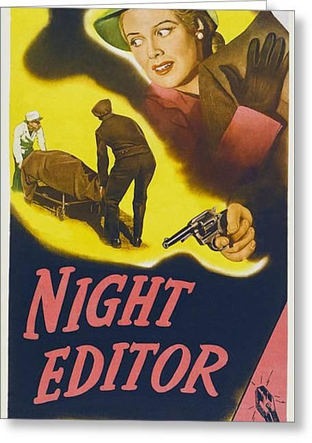1946 Night Editor Long Poster Greeting Card by R Muirhead Art