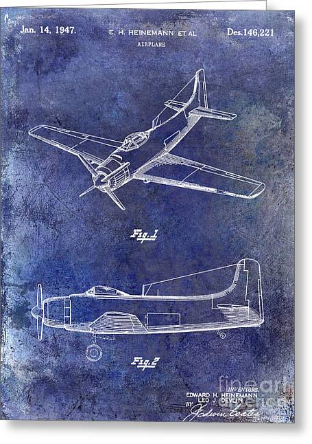 Antique Airplane Greeting Cards - 1947 Airplane Patent Blue Greeting Card by Jon Neidert