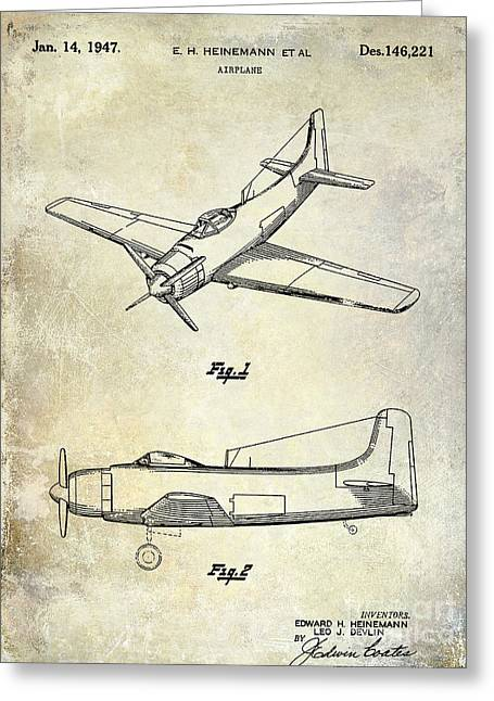 Antique Airplane Greeting Cards - 1947 Airplane Patent Greeting Card by Jon Neidert